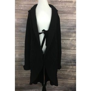 Valentino Long Black Wool Cashmere Cardigan